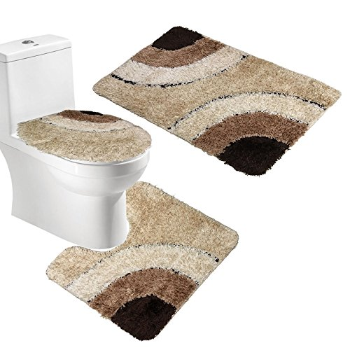 Amagical Microfiber Rug 3 Piece Bath Mat Set Pedestal Lid Toilet Cover Rug Bath Mat (Brown)