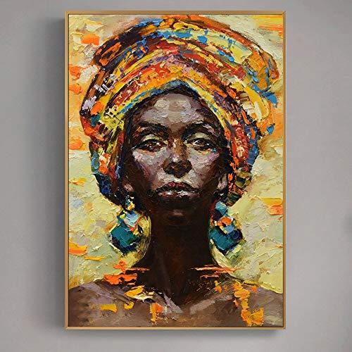 wZUN Retrato de Mujer Africana Abstracta Moderna Pintura al óleo sobre Lienzo Arte Mural Carteles e Impresiones imágenes decoración del hogar Sala de Estar 50X75CM