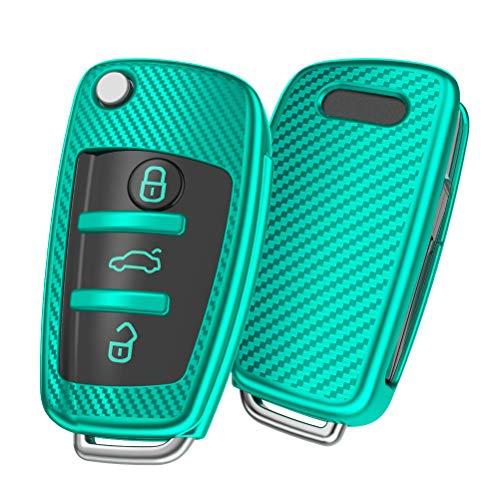 OATSBASF Autoschlüssel Hülle Geeignet für Audi,Schlüsselhülle Cover für A1 A3 A4 A6 Q3 Q5 Q7 S3 R8 TT Seat 3-Tasten Schlüsselbox (Grün-Streifen)