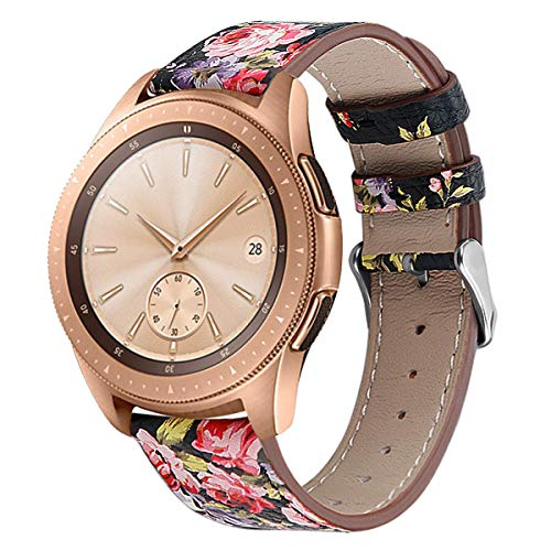 Universal 20mm 22mm width Floral Quick Release Genuine Leather Bands...