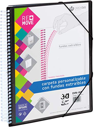 Carchivo 54004006 -Carpeta Remove personalizable de 40 fundas extraíbles, color negro ✅