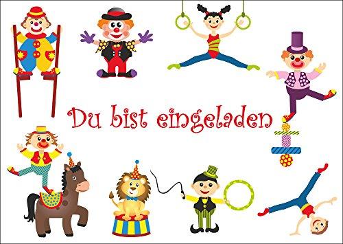 10-er-Set lustige Zirkus-Einladungskarten / Geburtstagseinladungen Kinder Mädchen Jungen zum Kindergeburtstag mit Clown oder zum Zirkusbesuch von EDITION COLIBRI (10729)