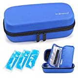 YOUSHARES Insulin Cooler Travel Case - Handy Medication Insulated Diabetic Carrying Cooling Bag for Insulin Pen, Glucose Meter and Diabetic Supplies with 3 Cooler Ice Pack (Blue)