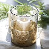 cyl home Hurricane Candleholders Hammered Clear Glass with Sparkler Golden Decor Dining Ta...