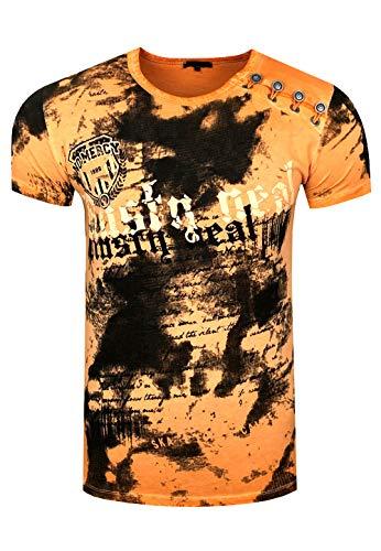 Rusty Neal Batik Herren T-Shirt Front Logo Print Herren Shirt Verwaschen Kurzarm S M L XL XXL 156, Größe:XL, Farbe:Orange