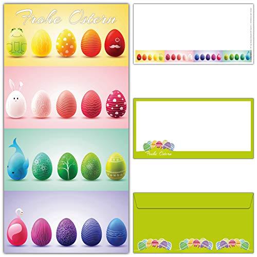 12er Set Osterkarten mit Umschlag 20 OSTEREIER - edle & große Frohe Ostern Grußkarten im DIN lang Format für Privat und Geschäft von BREITENWERK