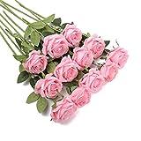 Rosas Artificiales, 12 Piezas de Rosas Flores Artificiales a Granel Flores de Seda de Tallo Largo Rosas Arreglo Floral Ramo para la decoración del Banquete de Boda en casa (Rosa)