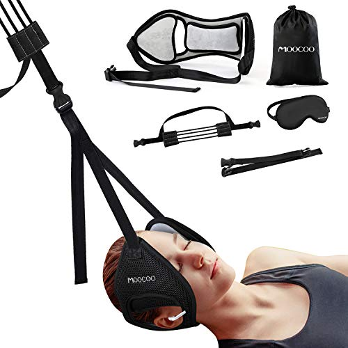 Neck Relief Hammock, Moocoo Adjustable Cervical Neck Traction Device, Portable Neck Stretcher for Neck Pain Relief