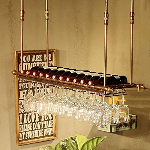 CMMT Estante de la vendimia Nuevo Muro Retro Estante de Vino Metal Metal Plancha Rack Bar Loft Colgando Pared Colgando Vintage Champán Vidrio Vino Taza Taza Taza Botella de vino Frame (Tama?o:100 * 30
