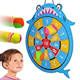 WEY&FLY Sticky Darts Board Set, Novelty Fabric Shark Dart Board Double-Sided Ball Board Game with 4 Soft Balls Safe for Kids Fun for Adults