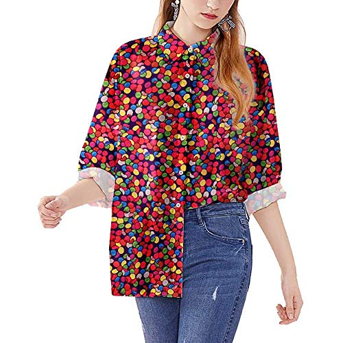 Camisa de Manga Larga con Estampado de Caramelo de Colores Elegante cárdigan de Solapa de diseño Suelto for Hombres y Mujeres # 05