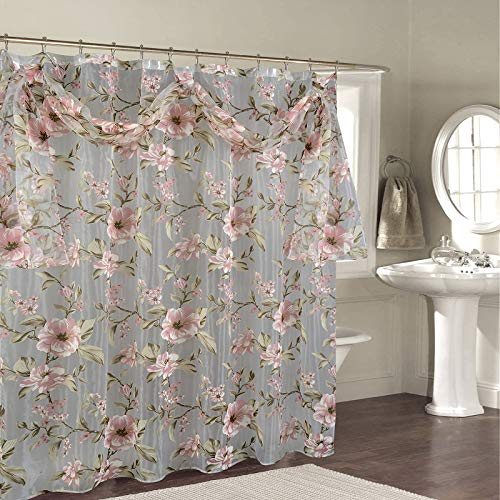 """BH Home & Linen Decorative Sheer Scarf Shower Curtain with Floral Designs 70"""" x 72 Inch Made of 100% Polyester. (Melarose Pink)"""
