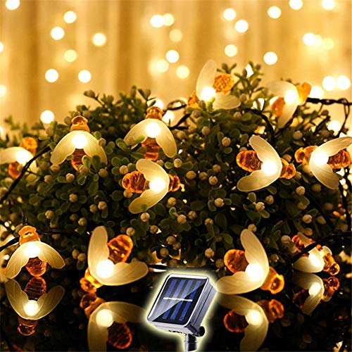 ZHAOXIANG 2PCS Bee Fairy String Lights, 16.4 Ft 20 LED Solar Led 8 Modes String Lights for Party, Wedding, Xmas, Decoration, Gardens, Patios