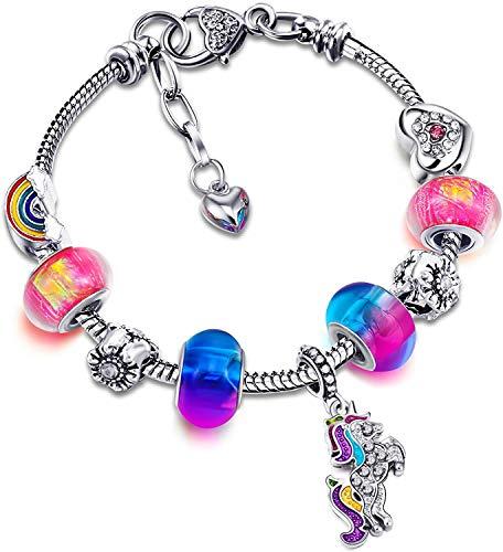 pulsera para niña, unicornio pulsera con dijes de cristal brillante pulsera de diamantes de imitación niña colgante pulsera de unicornio con cuentas de gran agujero para niños (color-16cm)