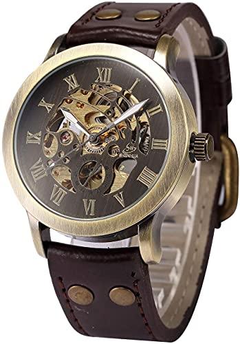 ZFAYFMA Reloj de hombre analógico con mecanismo de autobloqueo, reloj mecánico de acero inoxidable, reloj de movimiento de moda, tiempo libre, regalo retro