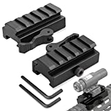 LONSEL Picatinny Riser Mount, 2 Pack Low Profile Rail Riser Mounts Adaptor with QD Lever Lock Quick Release/Detach & 5 Slots Picatinny Rails for Scope Rings Optics Sights - 1/2' H x 2.5'' L