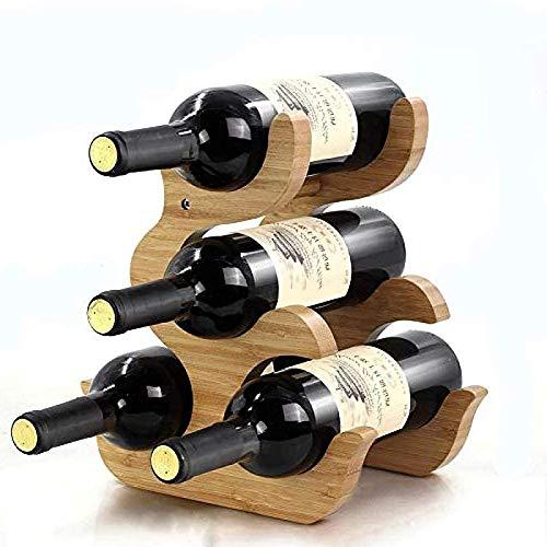 ZHANG Portabottiglie Verticale Impilabile Espositore per Vino in bambù Espositore da Tavolo da Appoggio Indipendente Casa in Legno Piccolo 1 Pz