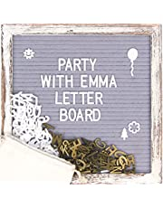 Rustic Vintage Wood Frame Grey Felt Letter Board Birthday Gift Baby milestone Symbols Emojis Simple Cursive Words Decor
