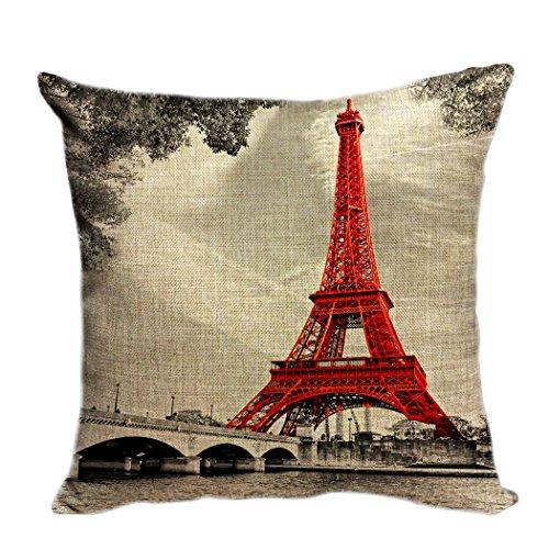 violetpos funda de cojín decorativo sofá cojín funda Auto Fundas de cojín fundas de almohada Emblema de la Ciudad Rojo Paris Torre Eiffel, lino, rojo, 40 x 40 cm
