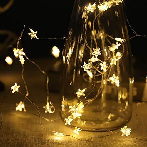 Chaîne Lumières Guirlande Lumineuse 40 Chaud Blanc LED Étoiles Guirlandes 6 M pour Noël Mariage Soir