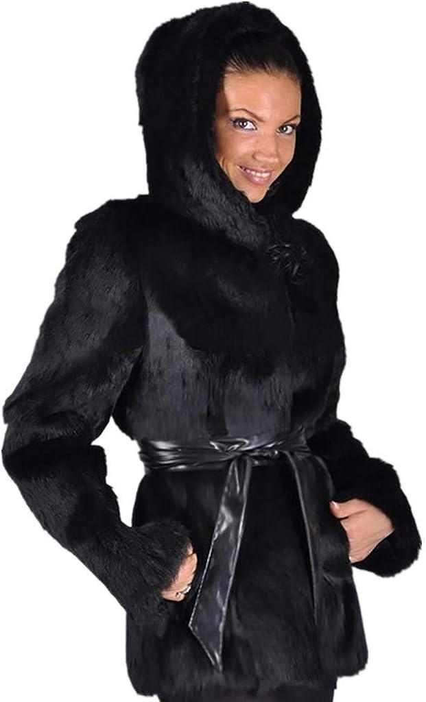 Hooded Long Faux Fur Jacket Women - NRUTUP Black Faux Mink Coat