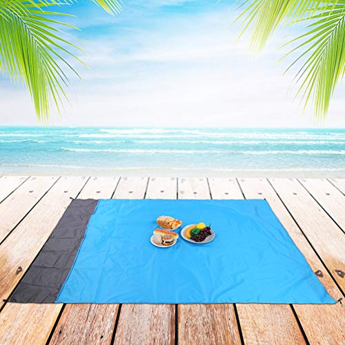 1.4 * 2m Camping Blanket,Double-layer 210T Polyester has 4 Ground Stakes Beach Blanket Waterproof for Open-air Festivals Outdoor Picnic Supplies