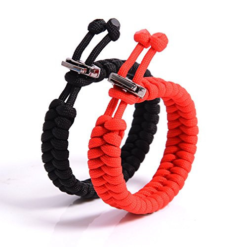 The Friendly Swede Set of 2 Fishtail Paracord Bracelets with Metal Clasp for 6.9' - 8.1' (17-20.5 cm) Wrists (Black + Red)