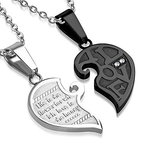 Bungsa Herz teilbar Kettenanhänger für Paare Edelstahl Silber Schwarz (Liebe Love Anhänger Set Amulett Medaillon Pendant Charm Beads Chirurgenstahl Damen Herren Schmuck)