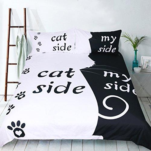 weicher Handgriff Ihre Seite Ihrer Seite Bettbezug mit Bettbezug, Cat Side My Side, Einzelbett (135x200 cm) - für 90 cm Bett