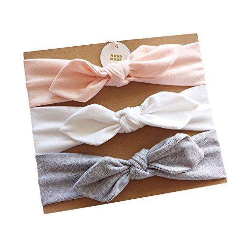 Hocaies 3 Stück Baby Mädchen Stirnbänder verknotete Baby Stirnbander Baby Top Knot Madchen Turban Headwrap Knot Stirnband Kleinkind Stirnband vor Ort Kaninchenohren Knit (17)