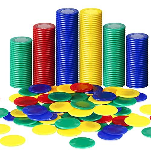 Skylety 400 Pièces Jetons de Poker en Plastique 4 Couleurs Carte de Poker pour Enfants Jeu Apprentissage Mathématiques Bingo Carte Jetons de Jeu Vierges Récompense (Rouge, Bleu, Vert, Jaune)