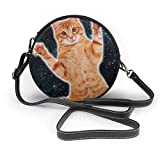 Bolso redondo mujer Women's Round Vegan Leather Crossbody Purse Shoulder Bag Cat In Deep Space Circle Tote Hobo Bag For Ladies Sling Bag