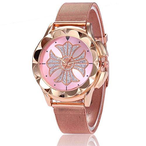 DSNGZ Reloj de Pulsera Nuevo Conjunto para Mujer Reloj de Moda Moda Mate Sunprint Funda de Malla de Oro Rosa con Reloj de Cuarzo Femenino Rosa