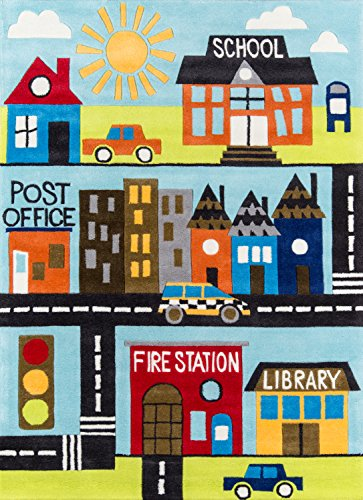 Momeni Rugs Lil' Mo Whimsy Collection, Kids Themed Hand Carved & Tufted Area Rug, 5' x 7', Town Scene