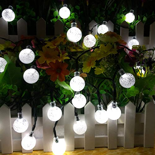 Solar String Lights Globe 38 Feet 66 Crystal Balls Waterproof LED Fairy Lights 8 Modes Outdoor Starry Lights Solar Powered String Light for Garden Yard Home Party Wedding Decoration(White)