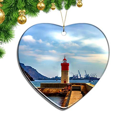 Hqiyaols Ornament España Faro de Navidad Cartagena Murcia Navidad Adornos Colgantes Decoración Pieza Cerámica Forma Corazón Recuerdo Ciudad Viaje Regalo