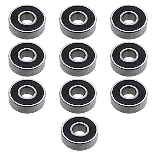 Rodamientos de bolas de ranura profunda 608RS ABEC-11, con doble sellado blindado, 8 x 22 x 7 mm, acero cromado negro para patinetes, ruedas de scooter, impresora 3D