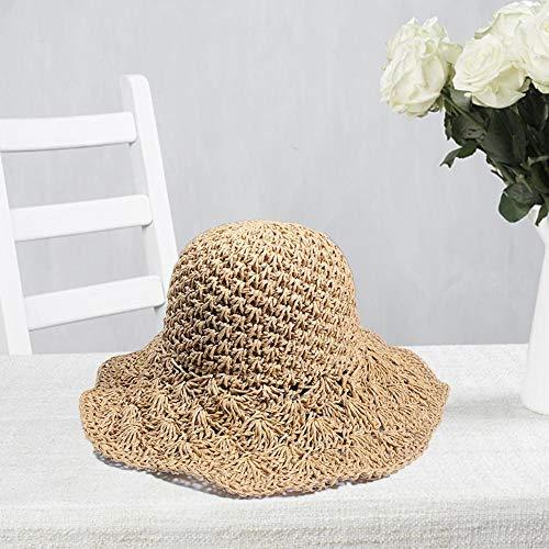 juman634 Sombrero de Punto para Mujer Primavera Verano Panamá Jack Hat Ajustable Sun Beach Cap Big Brim Straw Ganchillo Toyo Sun Hat