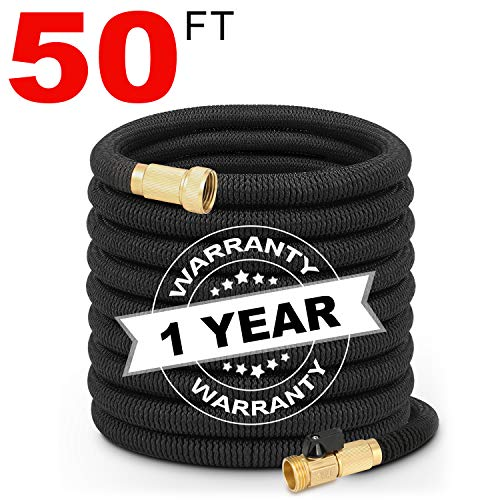 Hermard Expandable Garden Hose 50ft, Super Durable Fabric Water Hose - 3/4 Nozzle Solid Brass Connector, Non Kink Leakproof Garden Hose/Flexible Expanding Hoses for Watering and Washing (Black)