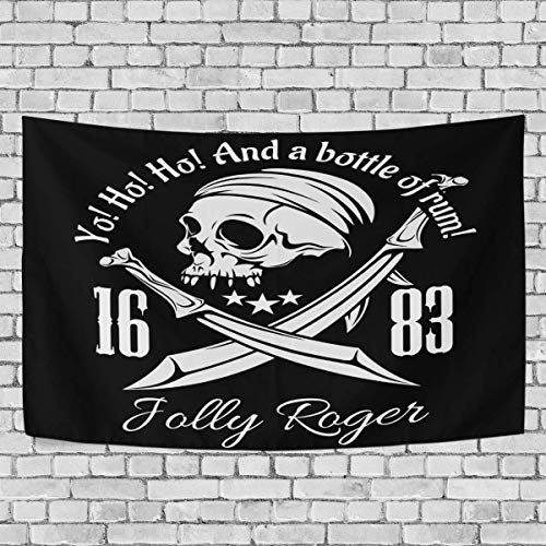 CHSUNHEY Tapisserie Pirates Skull Tapestry Skeleton Jolly Roger Tapestry Wall Hanging Hippie Bohemian Tapestries for Beach Blanket,Pick Nick Blanket,Table Cloth Wall Art 60\