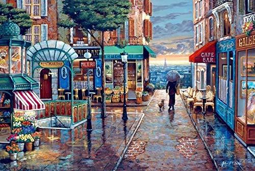 1000 Stuk Romantische Stad Straat Zonsondergang Landschap Schilderij Familie Entertainment Fotolijst Muur Decor Houten Legpuzzels, Afmeting 30 X 20 Inch