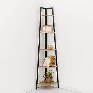 C-Hopetree Corner Shelf Bookcase Ladder Bookshelf Vintage Industrial Stand Rack Home Office Accent Furniture, Black Metal Frame, 5 Tier Corner Shelf