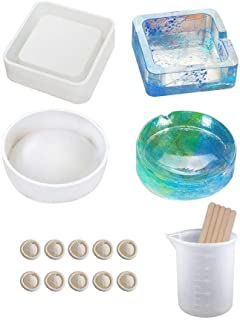 Resin Silicone Mold, Resin Casting Molds for Ashtray Square and Round Large Size Resin Art Molds with Silicone Measuring Cup, Wood Sticks (Ashtray molds set)