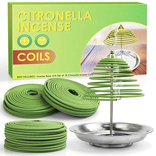 LA BELLEFÉE Spirales Encens à la Citronnelle pour l Extérieur et l Intérieur (12 Spirals avec 1 Support Spirale)