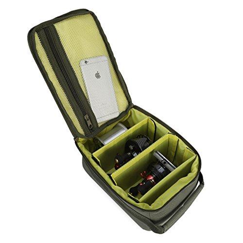 Huntvp Fishing Reel Bag Portable Outdoor Fishing Reel & Gear Bag Carry Storage Water-Resistant Fishing Tackle Bags (Dark Green)