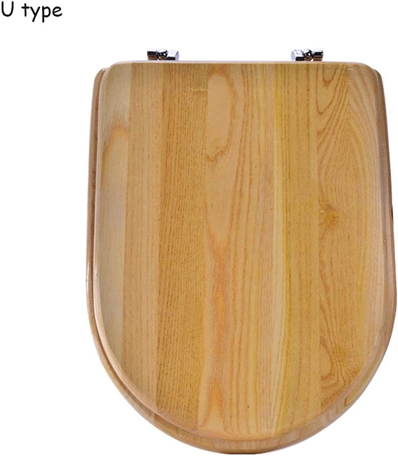 ZIMOM Metal Hinged Solid Wood Toilet Seat Thickened Vintage Universal Toilet Cover Full Wooden Toilet Wood Cover (color   Small U type)