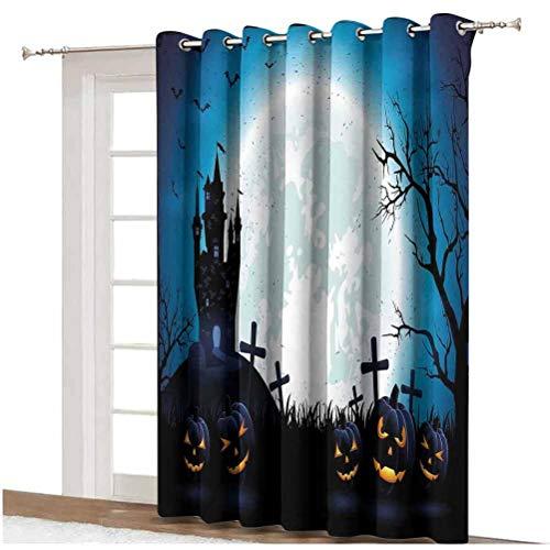 Cortina de puerta corredera de Halloween con iconos de miedo, figuras celtas antiguas de la cosecha en imagen oscura con parte trasera térmica, panel individual de 254 x 274 cm, para puerta de cristal