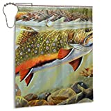 Brook Trout Fly Fishing Shower Curtain Set with 12 Hooks Watercolor Decorative...