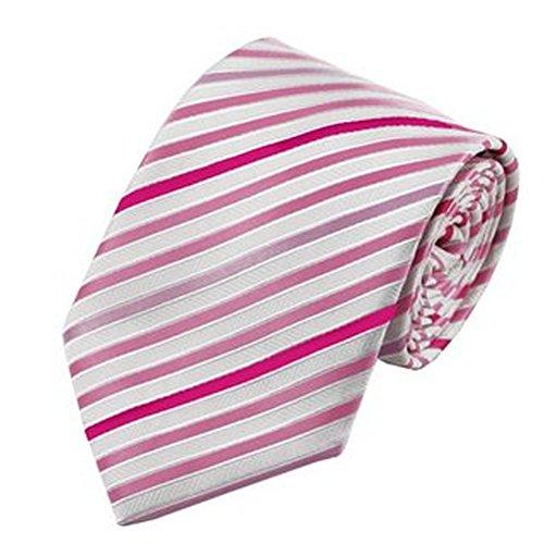 Jason & Vogue Designer Cravate en Blanc Rose et Bandes Rosane
