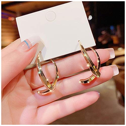 ertertre Ladies Hoop Earrings,Simple Curved Earrings for Women Girls Wire Dangle Hoop Curved Studs Irregular Threader Circle Statement Hoops Gift for Girls